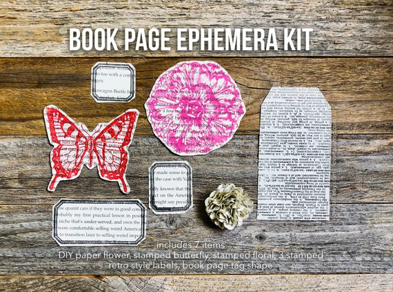 Book Pages, Dictionary Pages, Paper Flower, Butterfly, Book Ephemera, Paper Ephemera, Embellishment Kit, Junk Journal Supplies