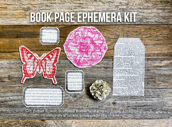 Book Pages, Dictionary Pages, Ticket Label, Book Page Paper Flower, Butterfly, Book Ephemera, Embellishment Kit, Junk Journal Supplies
