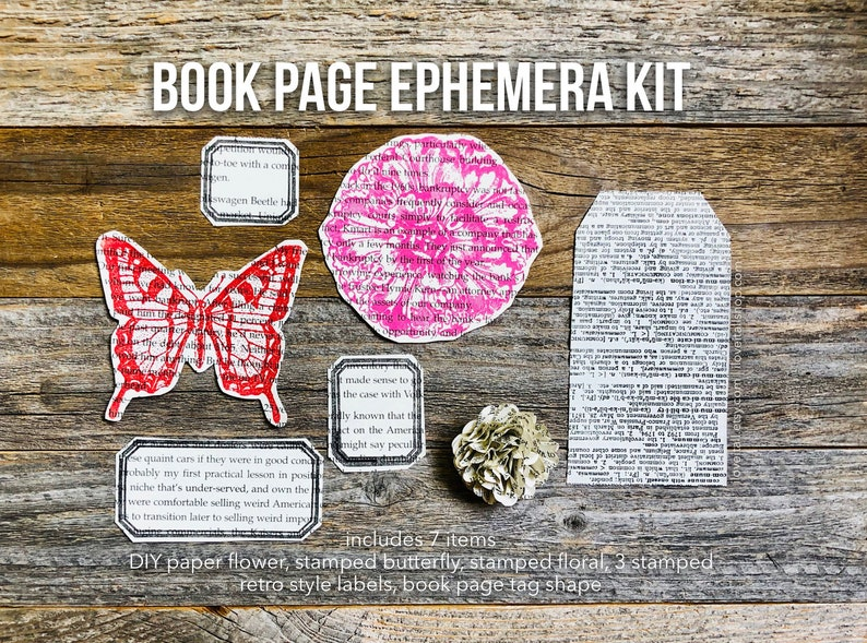 Book Pages Dictionary Pages Paper Flower Butterfly Book image 0