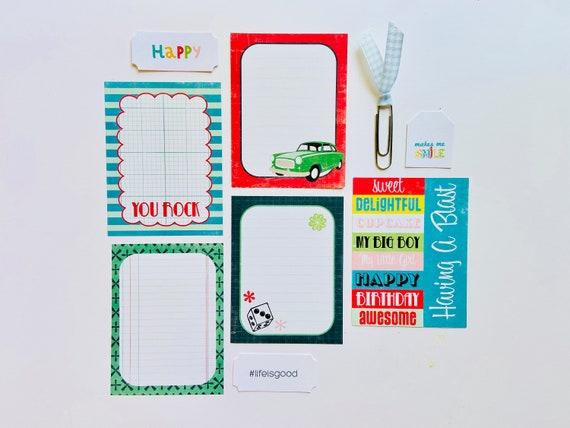 Masculine Scrapbooking Ephemera, Ephemera Kit, Junk Journaling, Journaling Cards, Journaling Spots, Happy Tag, Blue Gingham Paper Clip