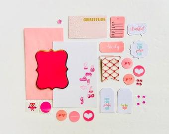 Pink Paper Ephemera, Junk Journal Ephemera, Gratitude Journaling Supplies, Junk Journal Craft Kit, Scrapbooking, Crafting Supplies