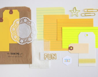 Tag + Embellishment Kit Collection . Yellow Set 2 . Planner Scrapbooking Mixed Media Mini Album Midori Travelers Notebook Listers List