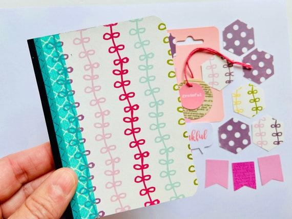 Pastel Ribbons Mini Composition Notebook Journal Kit, LIsting Journal, Cute Journal, Jotter Notebook, Beginners Journal Kit, Crafting Kit