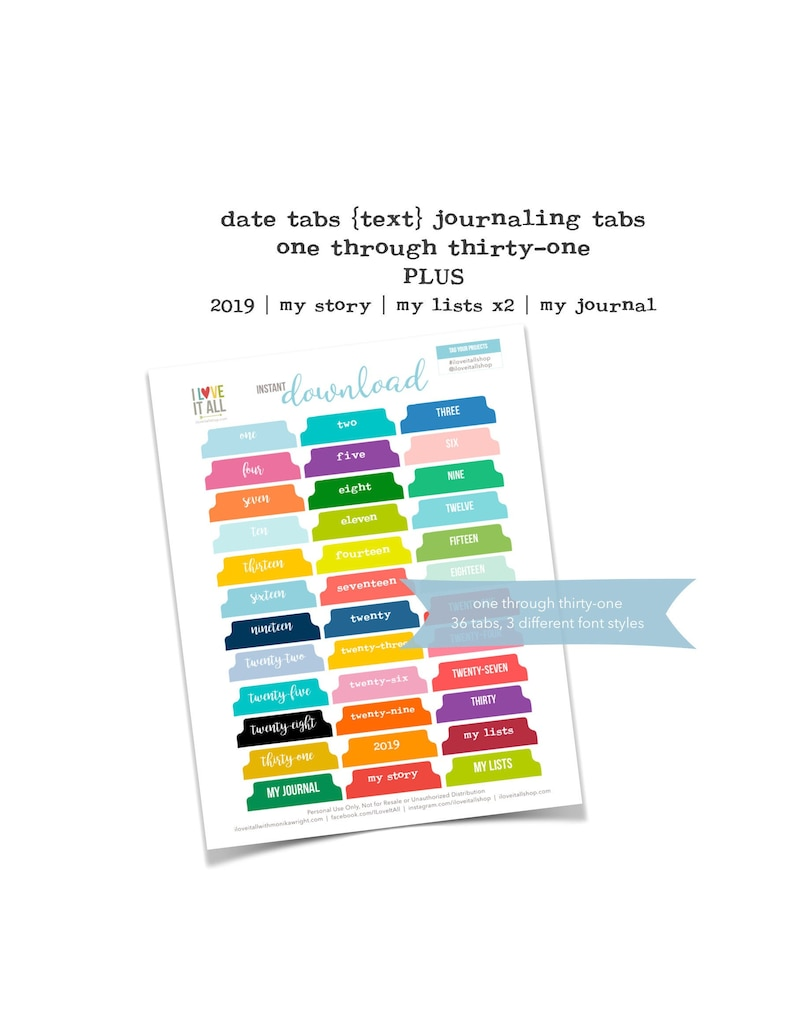 Printable Numbered Tabs Journal Tabs Colorful Numbered image 0