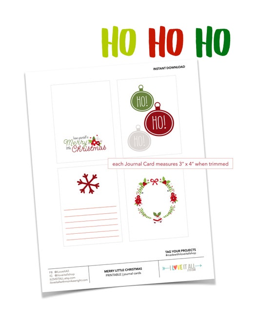 Printable Journaling Spots, Christmas Tags, Ho Ho Ho, Red Floral Wreath Card, Snowflake Card, Printable Journaling Cards, Scrapbooking