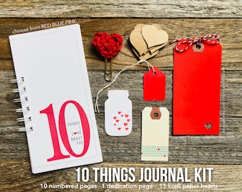 Anniversary Gift of Love, Gift for Husband, Birthday Gift for Wife, Journal of Love, We Love You, 10 Things, What I Love About You, Journal