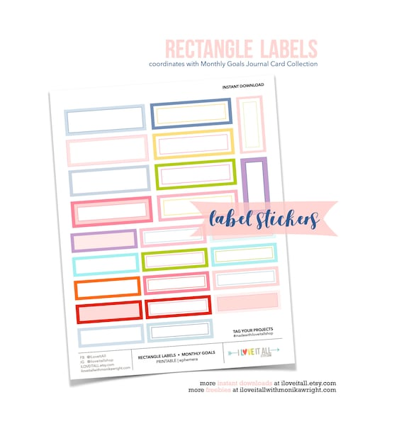 Printable Rectangle Sticker Labels, Junk Journaling Supplies, Retro Style Report Sticker, Soft Pastel Stickers, Rectangle Label Stickers