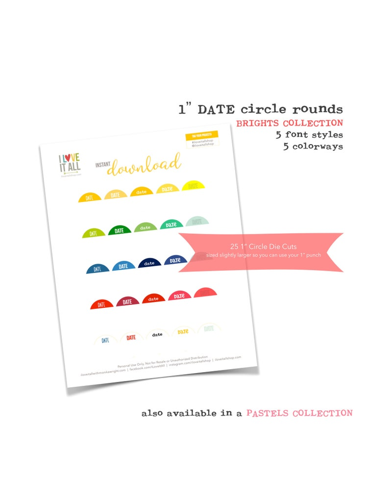 Printable 1 Inch Circles Brights Collection Date Tags image 0