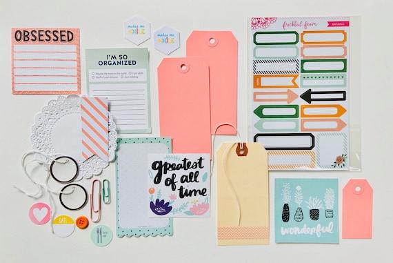 Sticker Ephemera, Label Stickers, Pastel Craft Kit, Paper Collection, Obsessed, Paper Doily, Cactus Card, Junk Journaling, Ephemera Kit