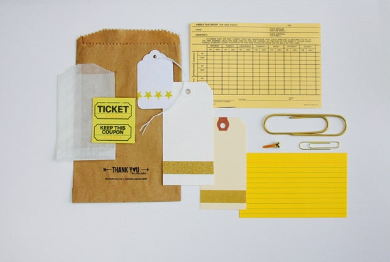Jumbo Gold Paper Clip, Embellishment Kit, Yellow Collection, Gold, Planner, Scrapbooking Supplies, Time Card, Gold Glitter Washi Tape, White