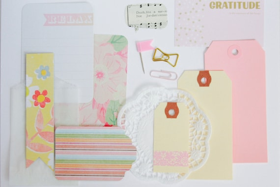 Pink Planner Page Kit, Pink Decorations, Scrapbooking, Junk Journal Supplies, Journaling Kit, Pink Ephemera, Paper Doily, Bow Paper Clip