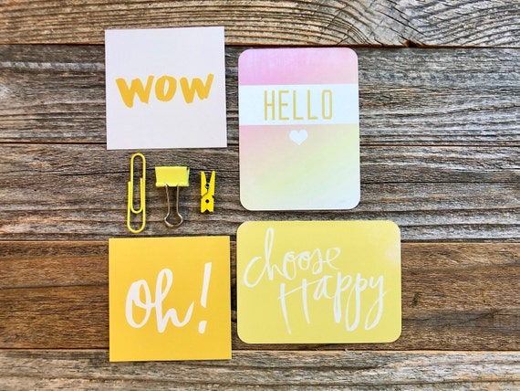 Choose Happy, Yellow Paper Ephemera, Wow Card, Hello Heart, Yellow Clip, Sunshine Yellow, Embellishment Kit, Junk Journal Supplies, Oh Card