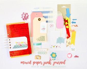 Gold Foil and Pink Junk Journal, Mixed Media Journal, Mixed Paper Mini Book, Gratitude Journal, Junk Journal Craft Kit, Creative Journal