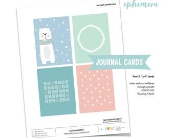 Woodland Wreath Card, Christmas Tag, Pastel Heart Pocket Card, Bear Journaling Card, Christmas Season, Snowflake Journal Spot, Muted Tones