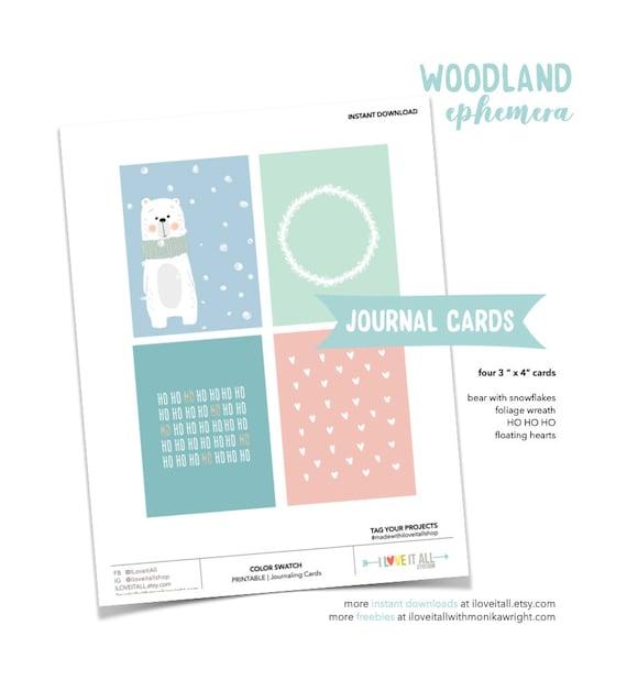 Woodland Cards, Christmas Tags, Pastel Hearts, Bear, Journaling Card, Ho Ho Ho, Woodland Wreath, Pocket Card, Snow, Snowflakes, Muted Tones
