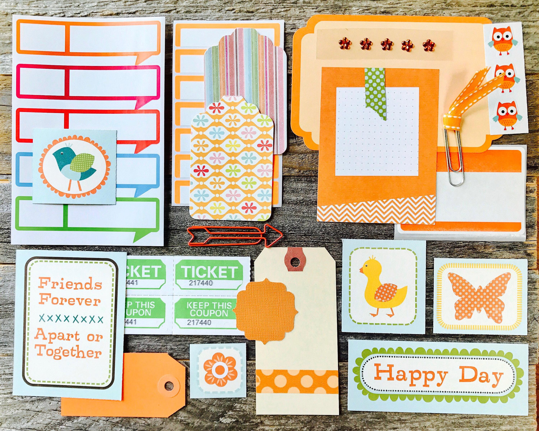 orange midori paper ephemera tag embellishment collection collage