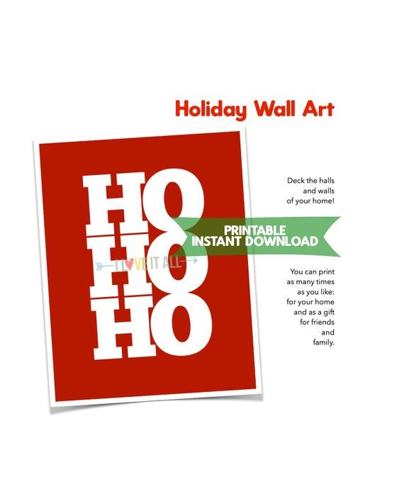 HO HO HO Art Print, Printable Christmas Art, 8x10 Wall Decor, Minimalist Home Decor, Printable Wall Decor, Wall Art, Home Decor Print Sign