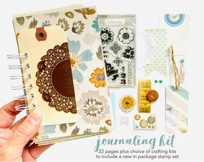 Featured listing image: Gold Glitter and Blue Junk Journal, Mixed Media Journal, Mixed Paper Mini Book, Junk Journal Craft Kit, Creative Journal, Mini Book Album