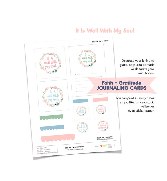 It Is Well With My Soul, Journaling Cards, Faith Journaling, Printable Journaling Ephemera, Page Flags, Scallop Border, Hymnal Song Lyrics