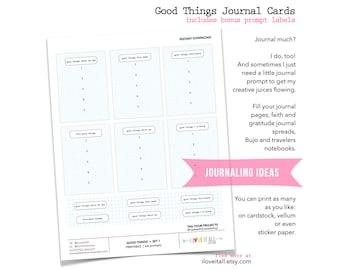 Good Things Journal Cards, Five Good Things, Good Things This Week, Printable Journaling Prompts, Junk Journaling Supplies, 5 Things Friday
