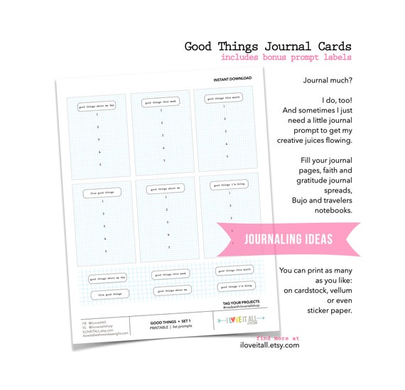 Good Things List Prompt Cards, Five Good Things, Good Things This Week, Printable Journal Prompts, Journaling Supplies, 5 Things Friday