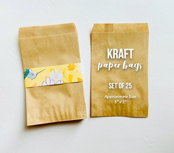 5 x 7 Brown Kraft Bags, Party Favor Bags, Kraft Paper Bags, Flat Merchandise Bag, Stampable, Paper Gift Bags, Gift Packaging, Kraft Bag