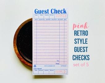 Pink Guest Checks, Junk Journaling, Collage Art, Retro Pink Ephemera, Creative Journaling, Art Journal, Nostalgic, Junk Journal Ephemera
