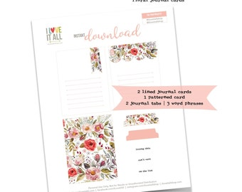 Floral Cards, Journaling Cards, Instant Download, Loving This, On the List, Scrapbooking,  Pink Florals, Junk Journaling, Floral Ephemera