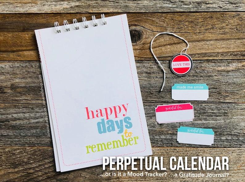 Perpetual Calendar Gratitude Journal Mood Tracker Notebook image 0