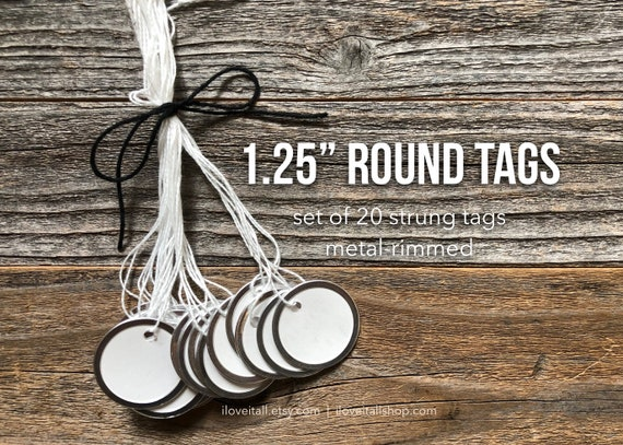 "Round Tags, 1.25"" Metal Rimmed Tags, Small Round Tag, Tag with String, Round Metal Tags, Paper Tags with Metal Rim, Small Gift Tags"