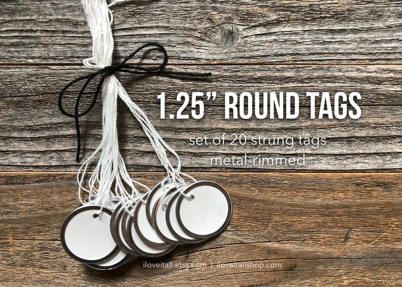 Round Tags 1.25 Metal Rimmed Tags Small Round Tag Tag image 0