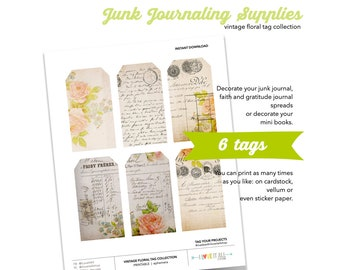 Printable Vintage Floral Tags, Hand Lettered Tags, Instant Download, Printable Gift Tags, Junk Journaling Supplies, Mixed Media Supplies