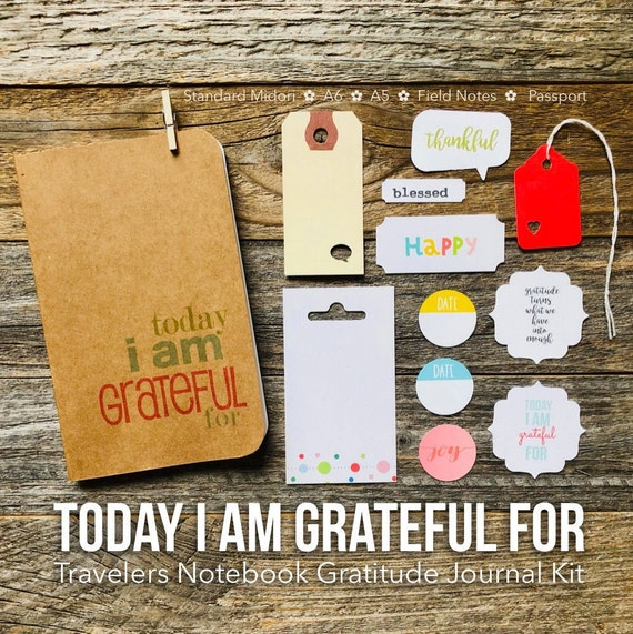Grateful Notebook, Today I Am, I Am Grateful For, Gratitude Journal, Field Notes, Positivity Journal, Travelers Notebook, Journal Notes