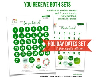Green Dates, Christmas Numbers, Printable, Cut Apart Date, Number Die Cut, Cut Out Ephemera, Monthly Dates, Date Printable, Instant Download