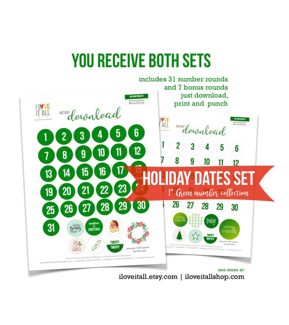 Christmas Green, Number Rounds, Dates, Christmas Numbers, Printable, Cut Apart, Number Die Cut, Cut Out Ephemera, Dates, Date Printable