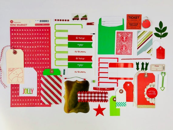 Christmas Holiday Kit, Scrapbooking Supplies, Christmas Ephemera, Gift Wrapping Supplies, Red Tag, Green Tag, Red Truck Sticker, Page Flags
