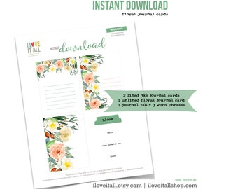Floral Journaling Cards, Instant Download Journal Prompts, Lined Journaling Cards, Bloom, Hello, I Am Grateful For, Cardmaking, Scrapbooking