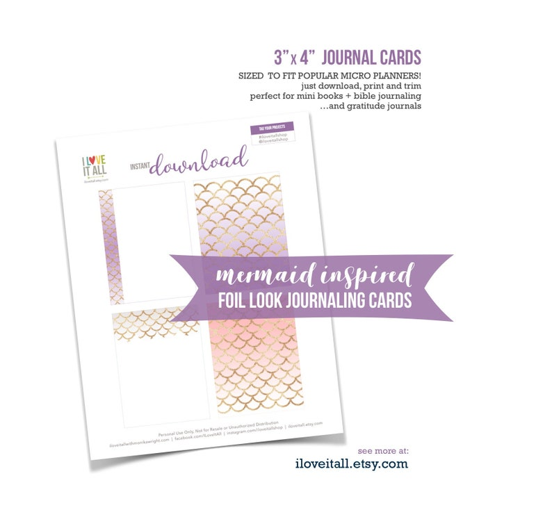 Micro Planner Pages Journal Cards Mermaid Purple Pink image 0
