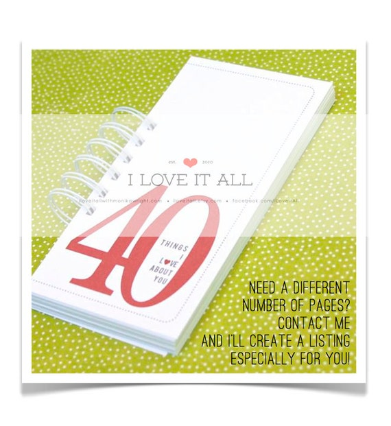 40 Things, 30 Things, 20 Things, 50 Things, I Love About You, Birthday Gift, Anniversary Card, Romantic Gift, Coupon Book, Deployment Gift,