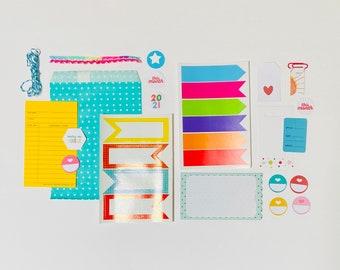 Bright Summer Colors Crafting Kit, Paper Ephemera Kit, Journal Ephemera, Junk Journaling Supplies, Craft Supplies, Love This