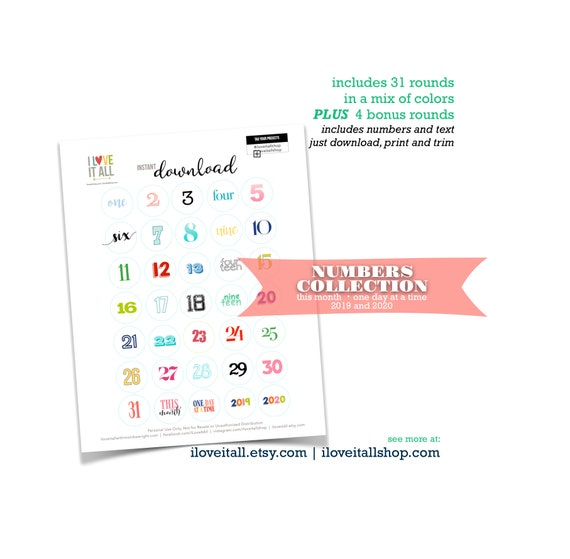 Number Collection, Journaling Card, Printable Numbers, Cut Apart, Number Die Cut, Cut Out Ephemera, Numbers, Instant Download