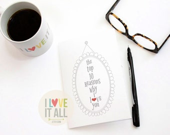 10 Things I Love About You List, Valentines Day, Reasons I Love You, Lists Coupon Book, Birthday Card, Anniversary Card, Deployment Gift