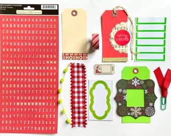 Christmas Gift Tags, Red Letter Stickers, Green Gift Tag, Merry Christmas Paper Tag, Cute Red Gift Tag, Paper Tags, Junk Journaling Supplies