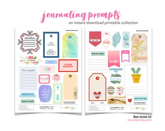 Journaling Prompts, 30 Listing Prompt Challenge Ideas, Printable Journaling Supplies, Journaling Story Starter, Print and Cut Download