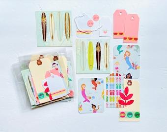 Beach Crafting Kit, Flip Flops Journal Card, Surfboard Cards, Washi Tape Shipping Tags, Junk Journal Supply, Scrapbooking Ephemera Kit