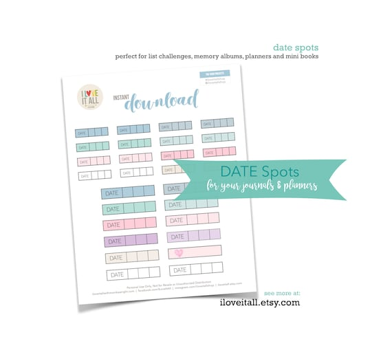 Date Spots, Journaling Spot, Planner, Planner Supplies, Journaling, Gratitude Journal, Dates, Bullet Journal, Printable, Date Spot