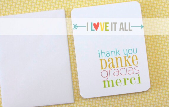 Thank You Card, International, Foreign Language, Danke Merci Gracias, Multilingual, German French Spanish English, Stationery Folded A2