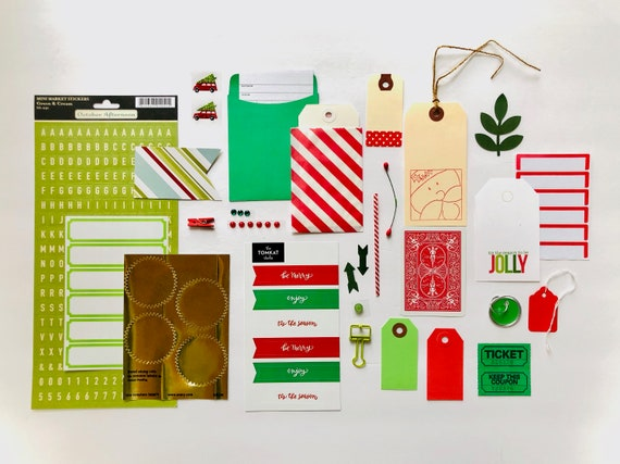 Christmas Holiday, Christmas Phrases, Christmas Kit, Green Stickers, Red Label Sticker, Red Truck, Red Tag, Striped Bag, Rhinestone Dots
