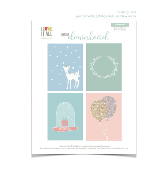 Woodland Cards, Christmas Gift Tags, Deer in the Snow, Snowglobe, Balloon Card, Woodland Wreath, Pocket Card, Planner Supplies, Christmas