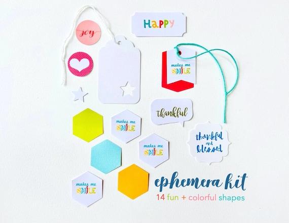 Journal Ephemera, Paper Ephemera, Ephemera Kit, Junk Journaling, Journaling Prompts, Scrapbooking, Journal Supplies, Joy Tag, Happy Label